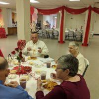 First Baptist Church Screven having dinner together